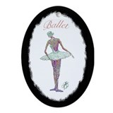 Ballerina in White Tutu Oval Ornament