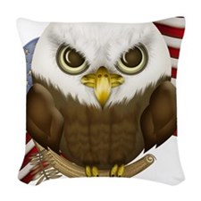 Cute Bald Eagle Woven Throw Pillow