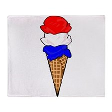 Red White and Blue Ice Cream Throw Blanket