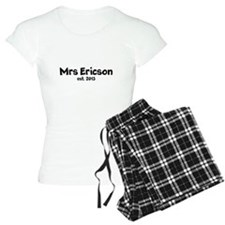 Personalized Mrs est wedding date Women's Pajamas