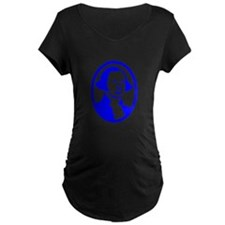 Blue George Washington Portrait Maternity T-Shirt