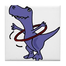 Funny T-rex Dinosaur Playing Hula Hoop Tile Coaste