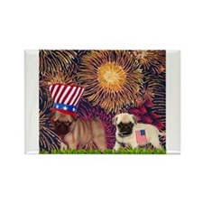 Patriotic Pugs Rectangle Magnet