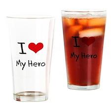 I Love My Hero Drinking Glass