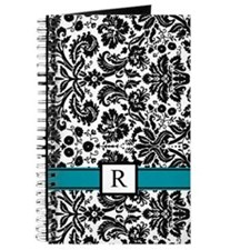 Black Teal Damask Monogram Journal