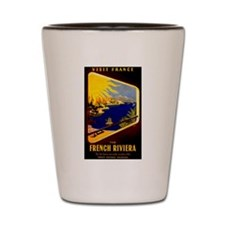 Vintage French Riviera Travel Ad Shot Glass