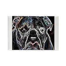 Neon Bulldog Rectangle Magnet