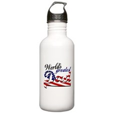 Worlds greatest dad USA flag Sports Water Bottle