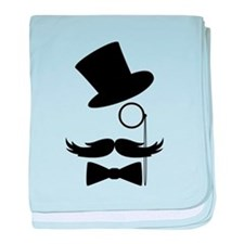 Funny Mustache Face With Monocle baby blanket