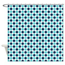 Teal Blue Dots Shower Curtain
