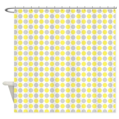 Yellow Grey Dots Shower Curtain By Dreamingmindcards