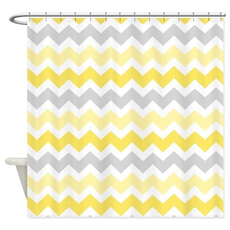 Chevron bathroom curtain - Yellow Grey Chevron Shower Curtain By Dreamingmindcards