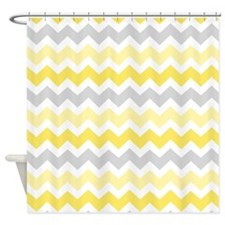 Yellow Grey Chevron Shower Curtain