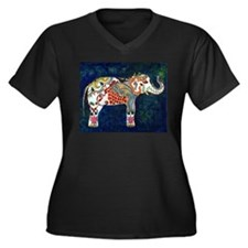 White Elephant - Women's Plus Size V-Neck Dark T-S