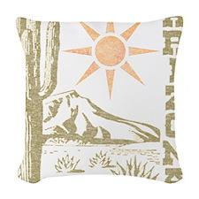 Vintage Arizona Cactus and Sun Woven Throw Pillow