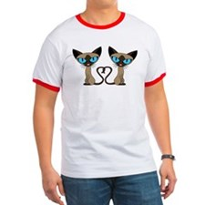 Cute Siamese Cats Tail Heart T-Shirt