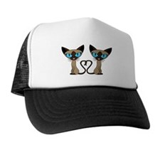 Cute Siamese Cats Tail Heart Trucker Hat