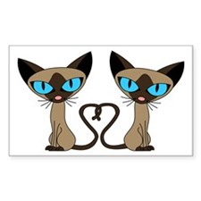Cute Siamese Cats Tail Heart Decal