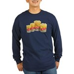 Movie Theater Popcorn Long Sleeve Navy T-Shirt