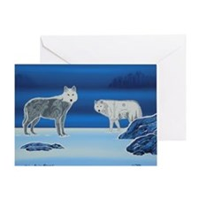 2 Wolves Greeting Card