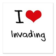 "I Love Invading Square Car Magnet 3"" x 3"""