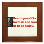 Ben Franklin Beer Quote.psd Framed Tile