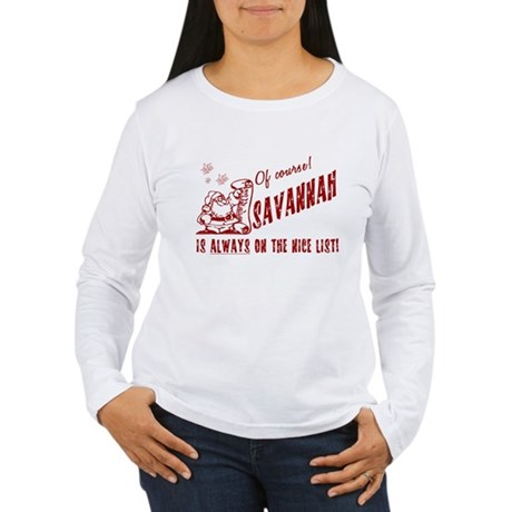 Nice List Savannah Christmas Women's Long Sleeve T