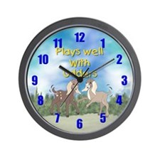 Goat-Plays Well with Udders Wall Clock