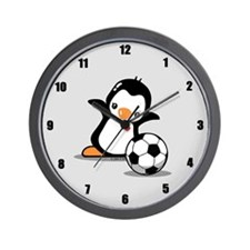 Soccer Penguin Wall Clock