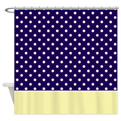 Navy Blue Yellow W Dots Shower Curtain By MarloDeeDesignsShowerCurtains