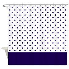 Navy Blue Dots 2 Shower Curtain