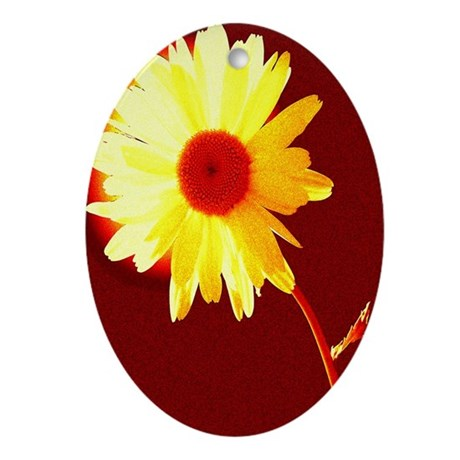 Hot Daisy Oval Ornament