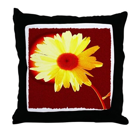 Hot Daisy Throw Pillow