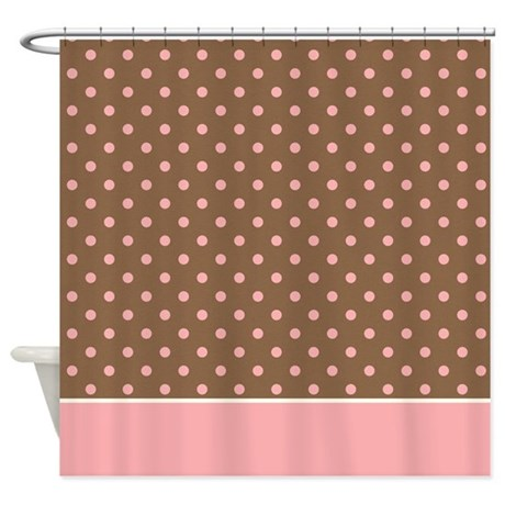 brown with pink dots 2 shower curtain by