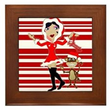 Holly Girl & Monkey Framed Tile