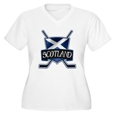 Scottish Scotland Ice Hockey Shield Plus Size T-Sh