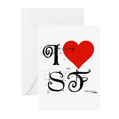I Love SF-NY Loves You Greeting Cards (Package of