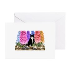 Tuxedo Cat with Foxglove Greeting Cards (Pk of 20)