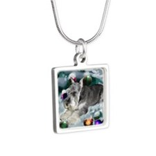 Miniature Schnauzer Silver Square Necklace