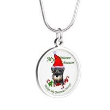 Miniature Schnauzer Silver Round Necklace
