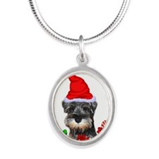 Miniature Schnauzer Silver Oval Necklace
