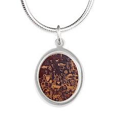 Newspaper Rock Petroglyph Silver Oval Necklace