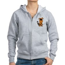 Funny Brown Puppy Dog Texting on Phone Zip Hoodie