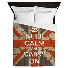 UK Flag with Keep Calm and Carry On Queen Duvet