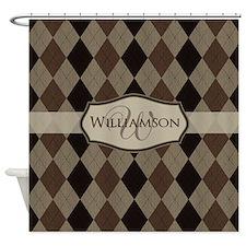 Brown Argyle Monogram Name Shower Curtain