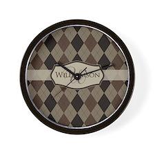 Brown Argyle Monogram Name Wall Clock