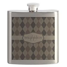 Brown Argyle Monogram Name Flask