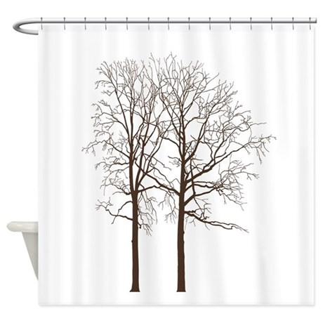 brown trees shower curtain by be inspired by life