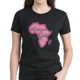 Pink African Girl Women's Black T-Shirt