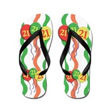 21 - Age twenty-one 21st Birthday Flip Flops